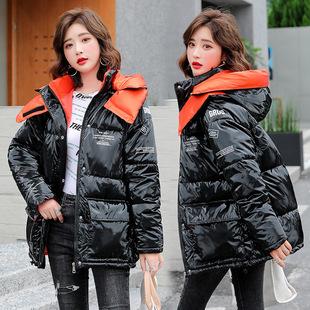 亮面羽绒棉棉衣女2020冬装新款女式韩版学生面包服撞色棉袄女棉服