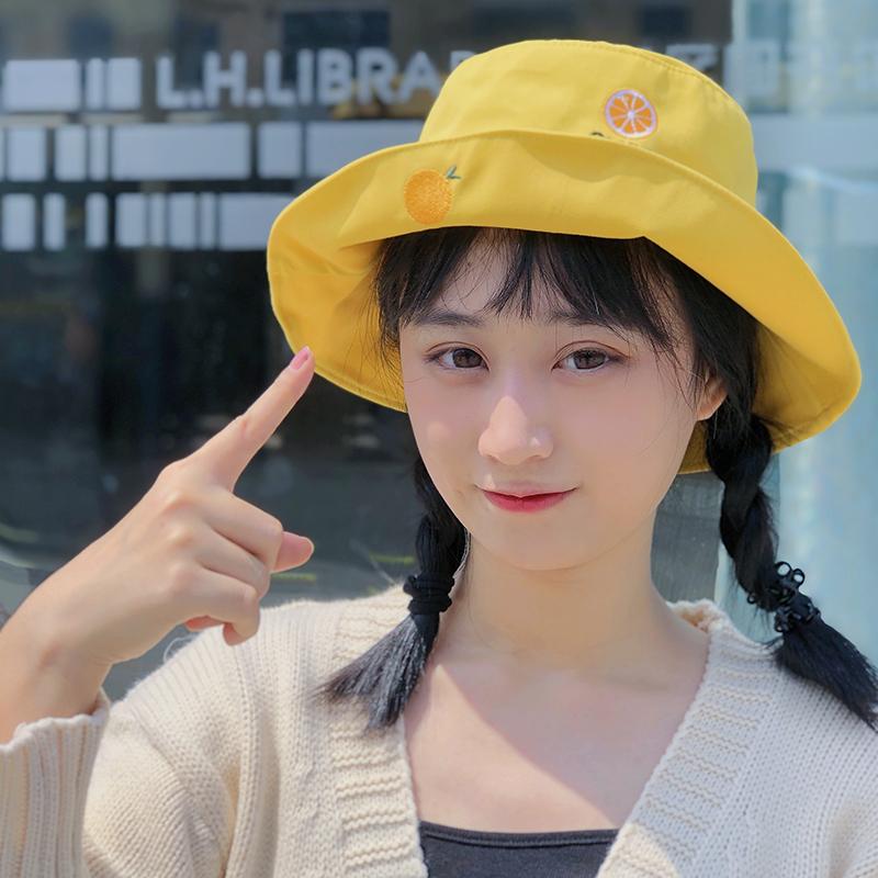 帽子女夏季韩版防紫外线遮阳帽黄色可爱显脸小清新学生出游渔夫帽