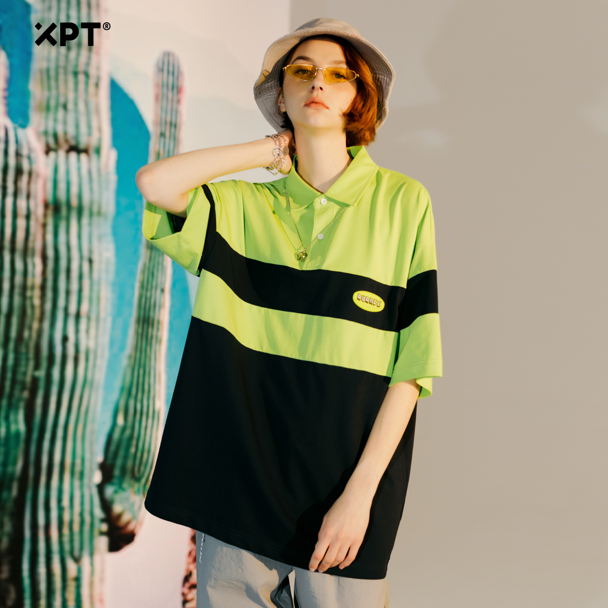XPT trendy summer Stripe Polo ins trendy contrast Lapel couple short sleeve T-shirt womens loose large mens wear