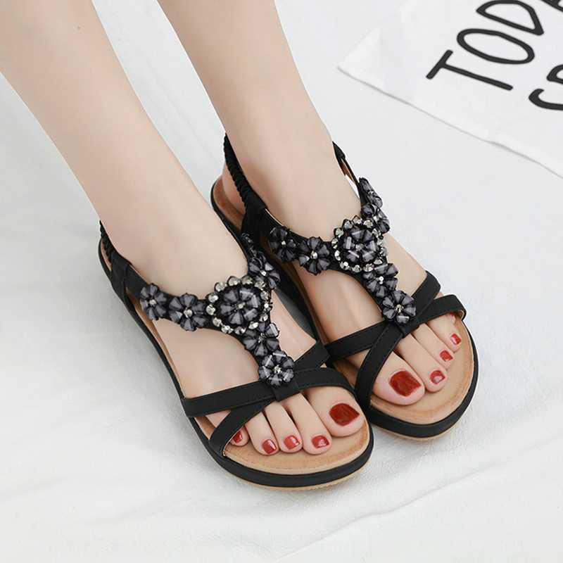 High heel gentle long Diamond Flower 2020 fairy style sandals extremely new Jian Po pop up style extremely simple thick bottom year