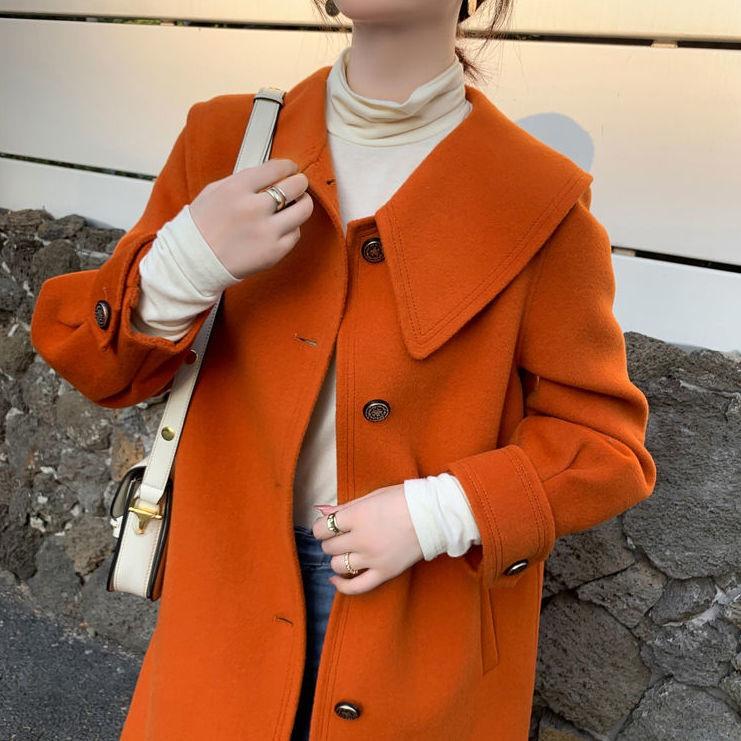 2021冬季新款高端双面羊绒大衣女中长款过膝澳洲羊毛呢子外套橘色
