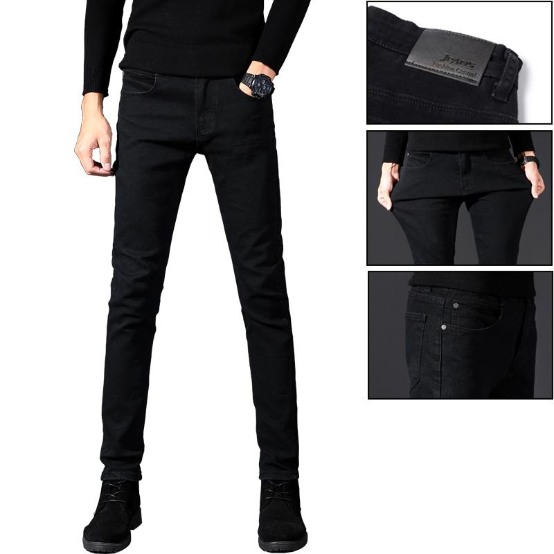 春夏薄款黑色牛仔裤男士修身小脚男裤装高弹力加厚直筒黑色裤子男