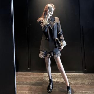 秋款2020年潮流新款欧美风ins西装碎花连衣裙子两件套装时尚女装