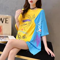 网红ins超火短袖t恤女2020新款韩版宽松中长款半袖个性丅桖上衣潮