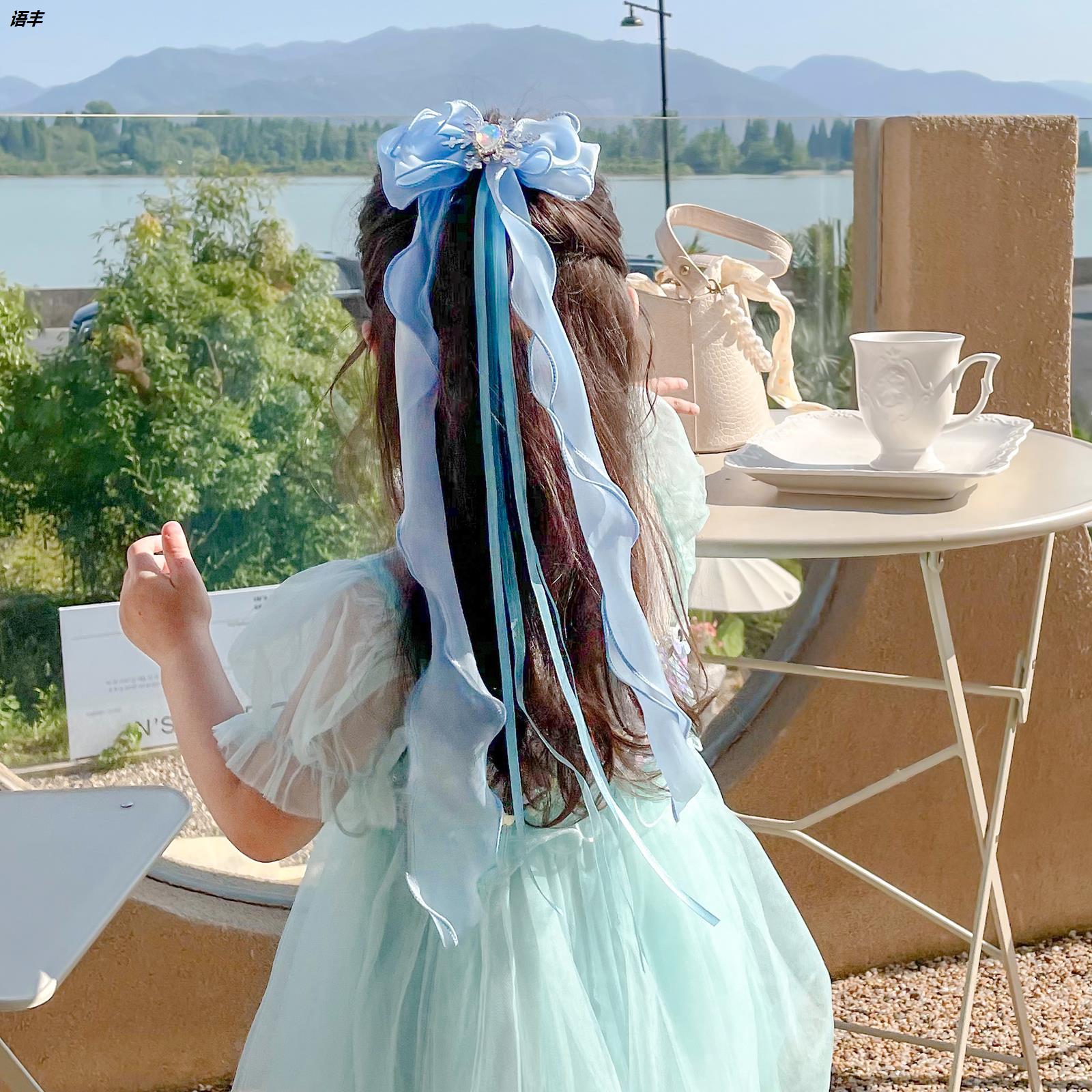女童蝴蝶结发夹头饰儿童发带女绑发编发爱莎网纱冰雪奇缘发卡发饰