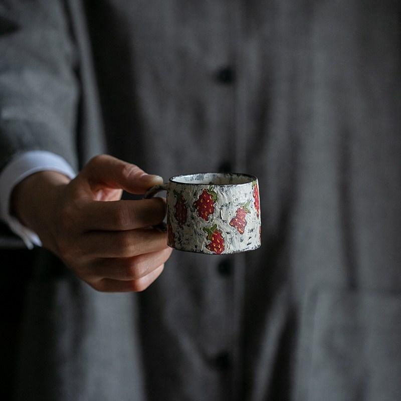 【7月售罄】化妆土咖啡杯碟 彩绘 把手杯 手作器皿  思茶饭香