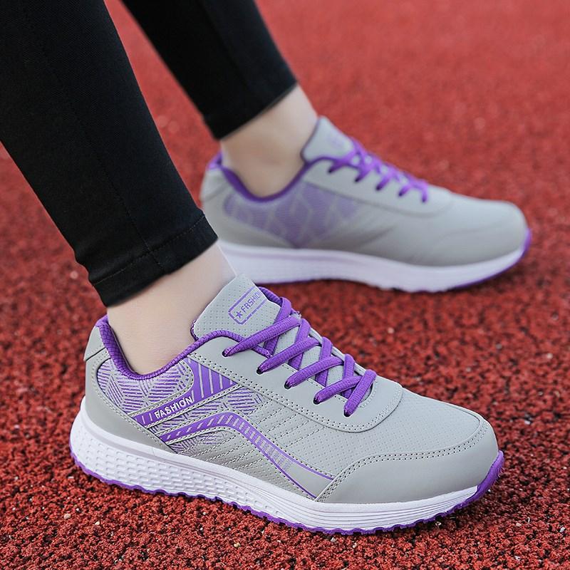 运动鞋女跑步鞋春秋皮面妈妈平底板鞋黑色休闲旅游鞋学生百搭女鞋