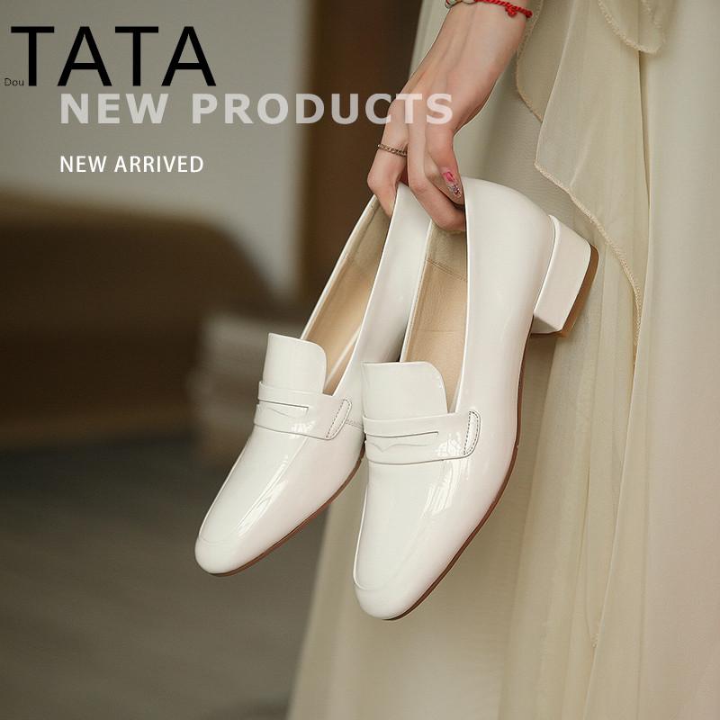 官方旗舰店女鞋春季新款方头粗跟时尚女鞋中跟纯色单鞋女TATADou