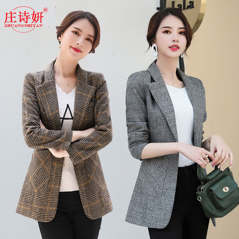 New small suit spring and autumn jacket Korean version short thousand bird Plaid Wool casual womens small suit coat