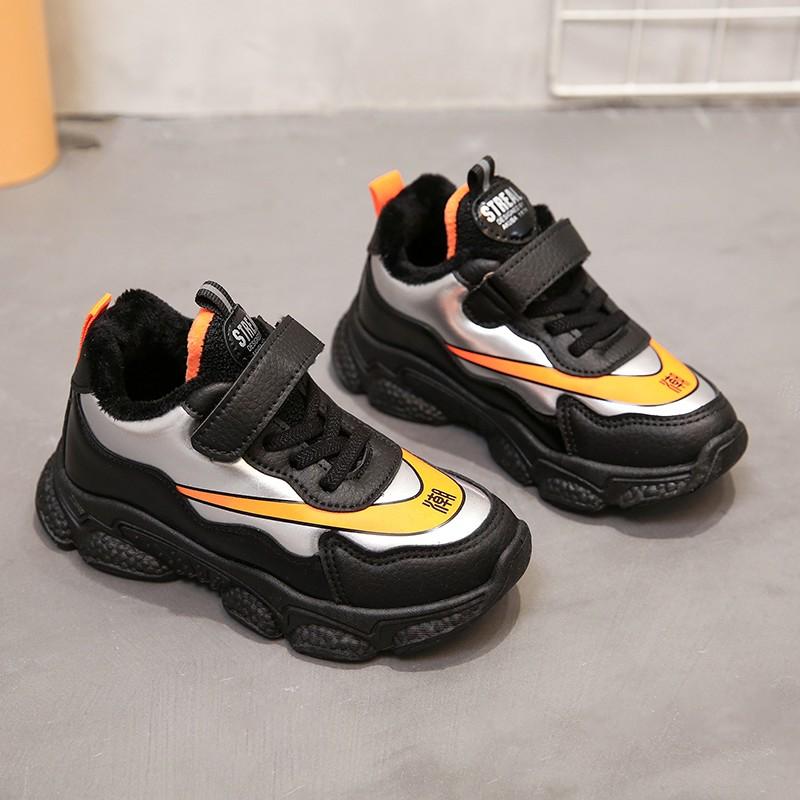 儿童运动鞋女童鞋子2020秋季新款百搭中大童秋冬老爹鞋加绒二棉鞋
