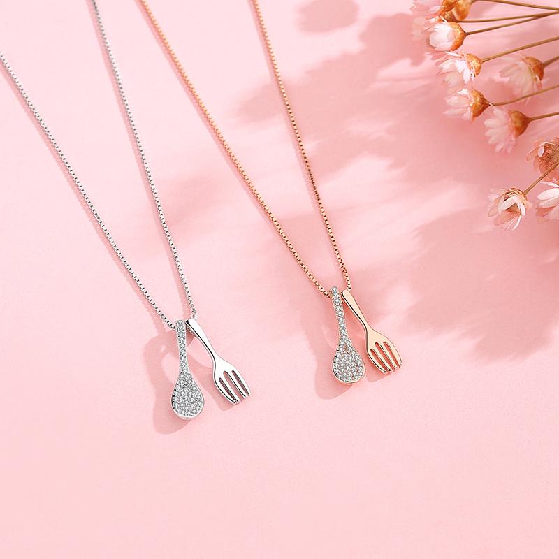 项链女银小吃货叉勺吊坠锁骨链小众设计感ins冷淡风送闺蜜520礼物