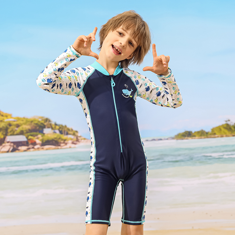 Boys swimsuit summer one-piece 2021 new middle-aged and older childrens sunscreen lovely long sleeved Swimsuit Boys hot spring swimsuit