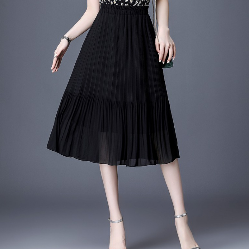 半身裙中长款女夏黑色雪纺半裙高腰垂感大码松紧腰胖mm百褶a字裙