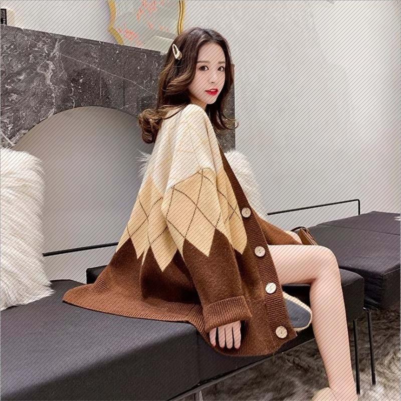 菱形毛衣外套女宽松懒惰风韩版中长款复古针织开衫2020新款秋冬季