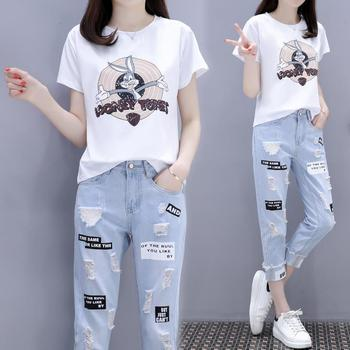 网红单件/套装2020春夏新款韩版印花T恤+破洞牛仔裤欧货套装女