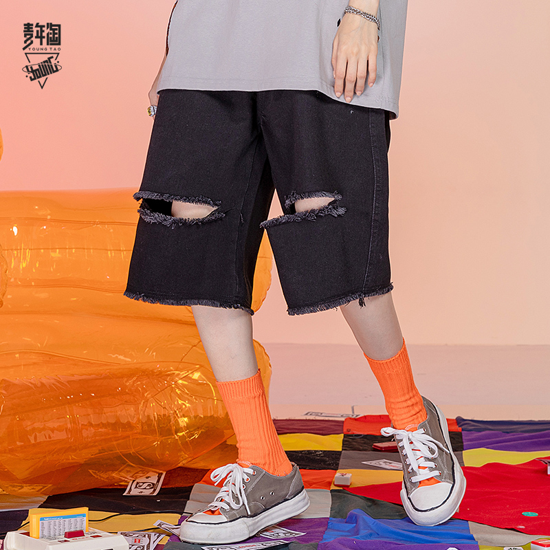 Young mens washed and worn-out denim shorts mens Japanese loose trend straight pants fashion brand