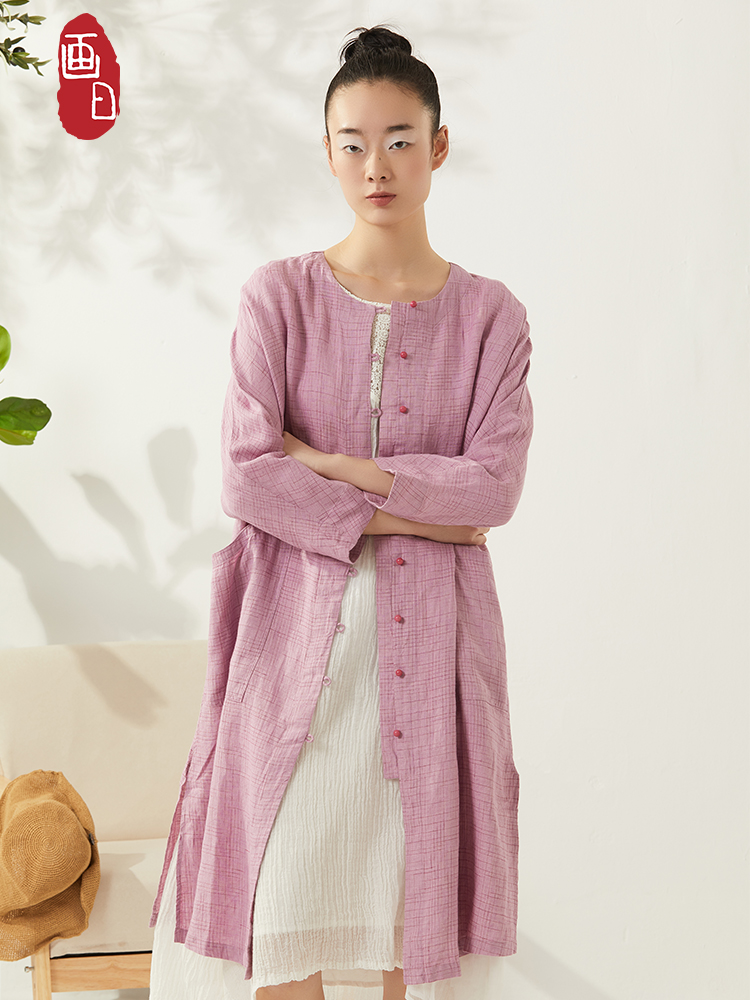 Painting day 2021 spring new literary pure linen dress Chinese linen long cardigan long skirt looks thin