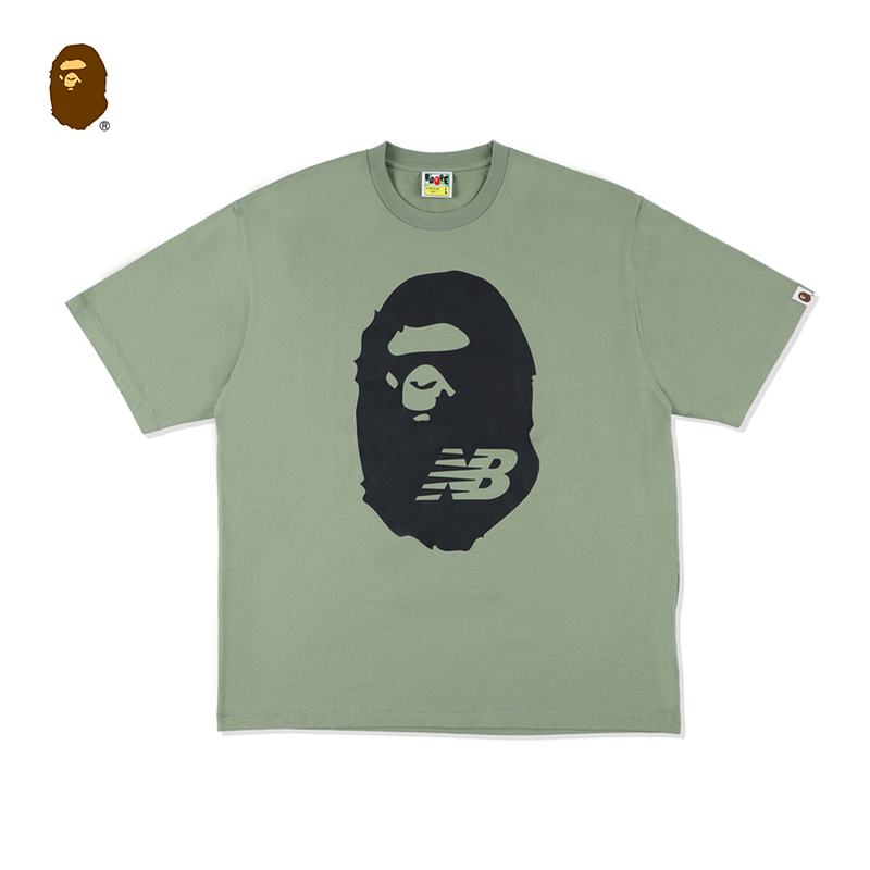 BAPE×NB联名猿人头字母印花图案短袖T恤110910G