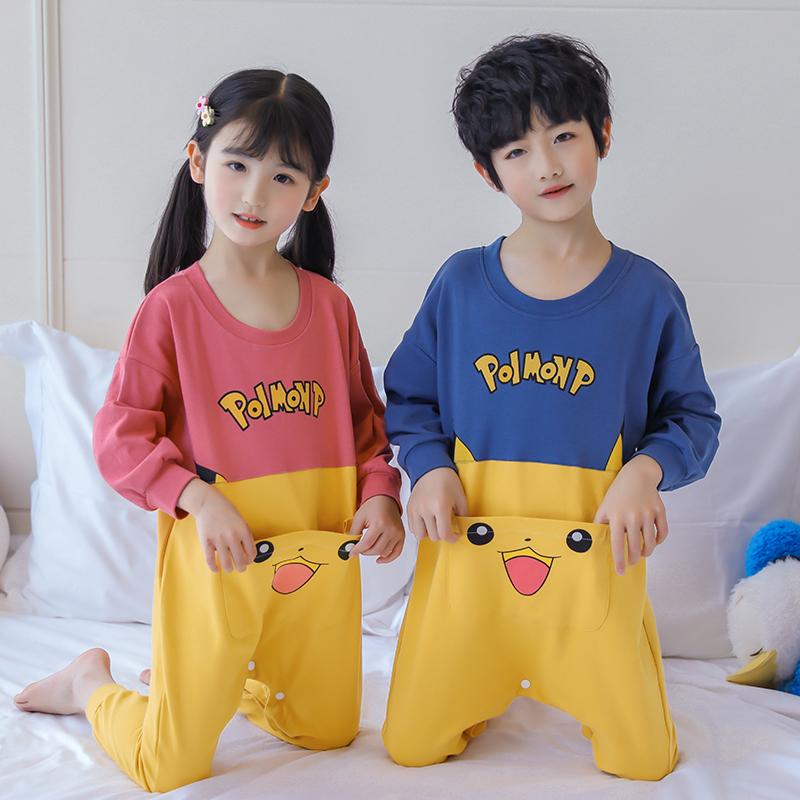 Thin summer conjoined pajamas childrens sleeping bag one boy baby girl cute cartoon parent child womens wear