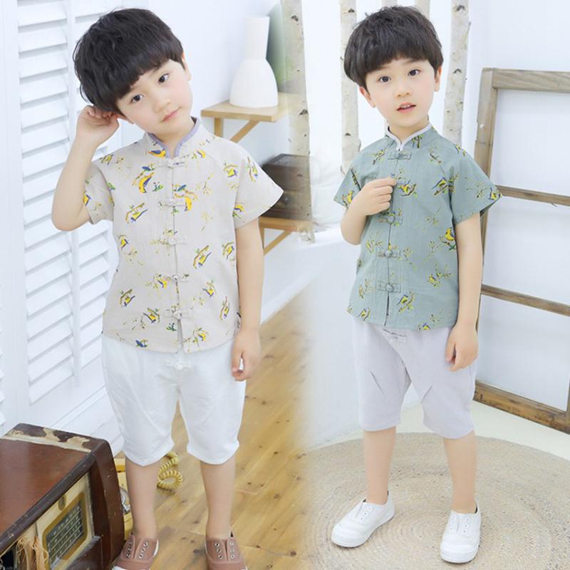 男童汉服复古夏装棉麻短袖套装儿童2020新款夏季唐装两件套中国风