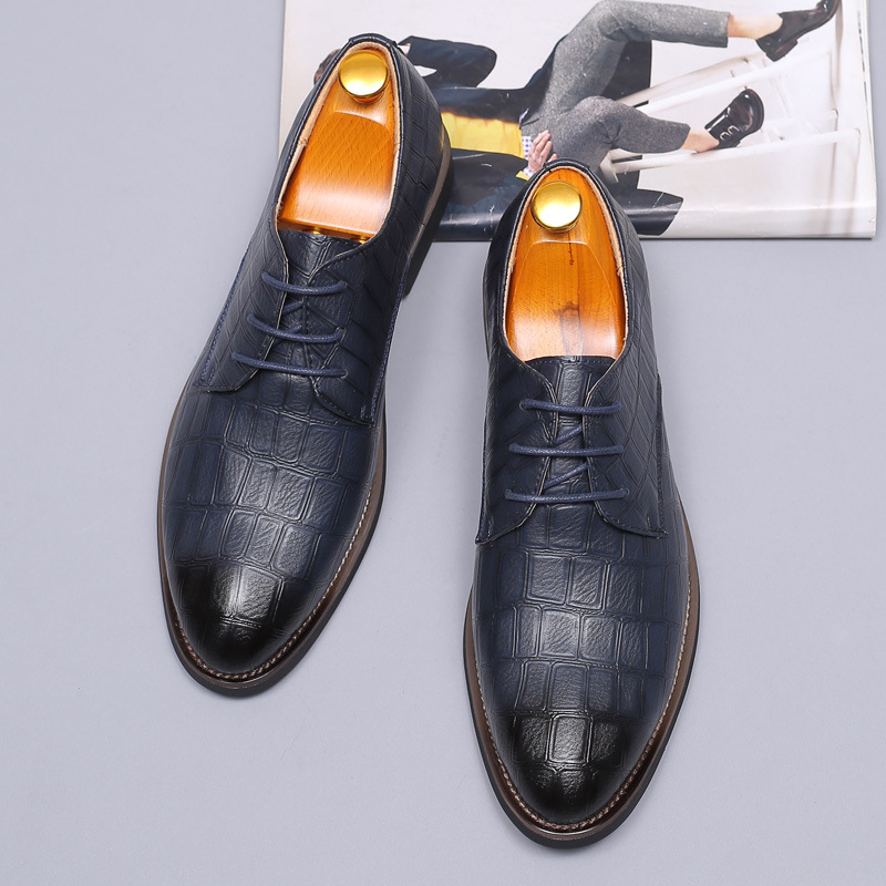 2020 new spring and summer business casual mens dress single shoe leather shoes mens large shoes leather pointed mens shoes