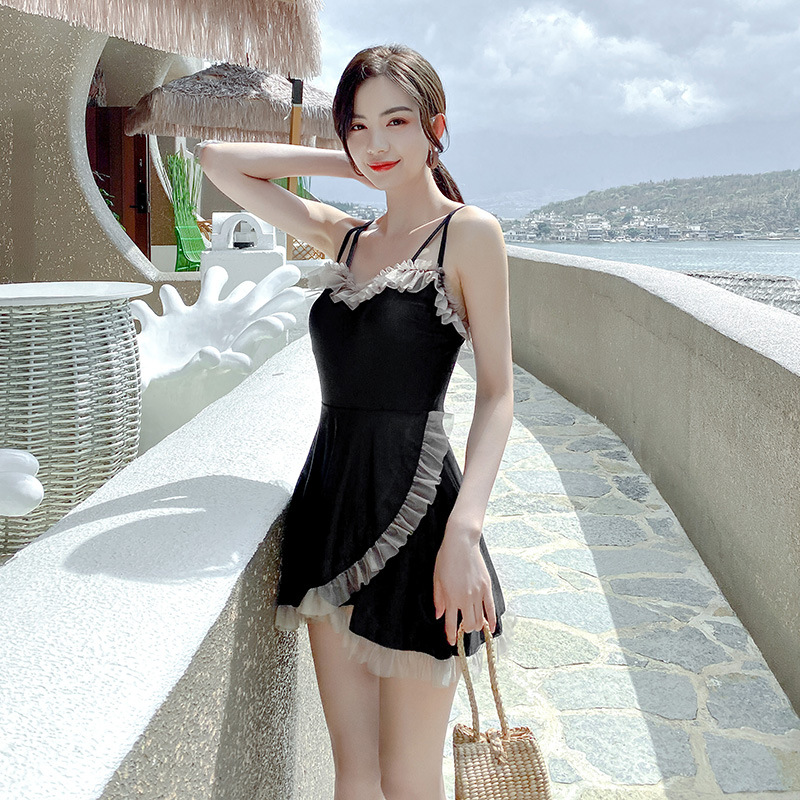 2021 swimsuit fairy model sexy one-piece sling conservative student show thin cover belly hot spring skirt swimming suit