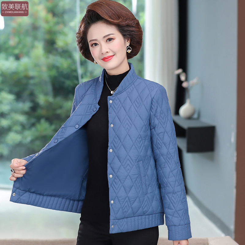 妈妈秋装休闲短外套宽松洋气2020新款中老年女装秋冬装轻薄小棉衣