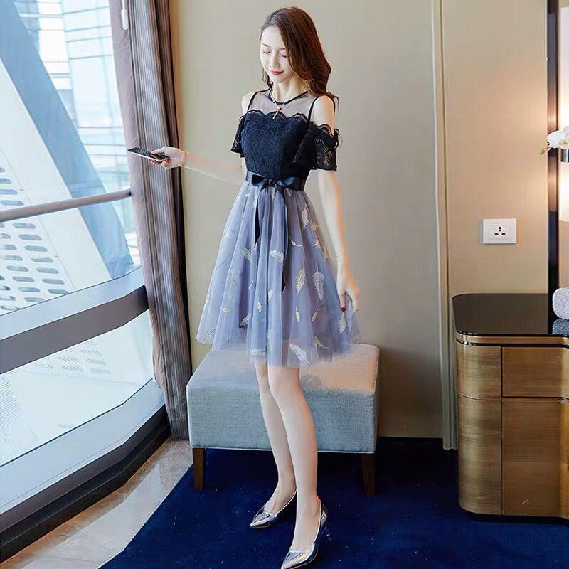 Summer new sexy dress womens dress 2020 fashion slim slim off shoulder lace mid length skirt