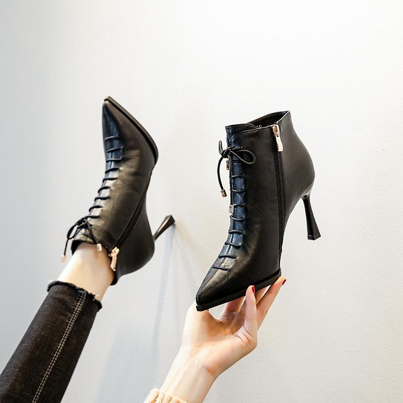 英伦风前系带骑士短靴20秋冬新品侧拉链高跟单靴尖头细跟马丁靴女