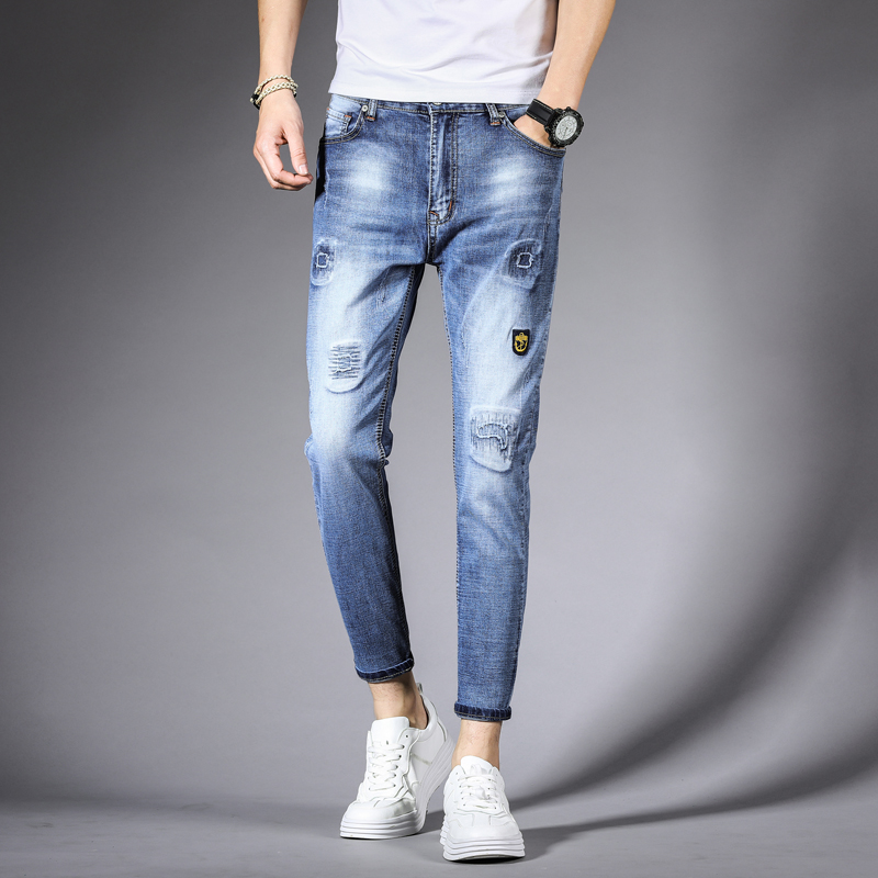 Casual youth cropped jeans slim fit trend stretch men