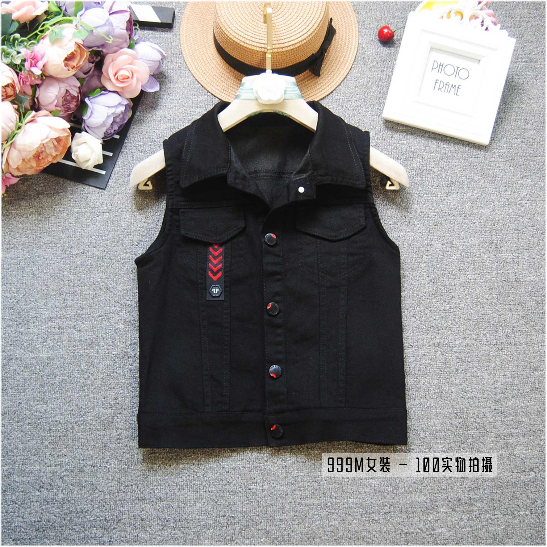 Black waistcoat embroidered womens short style spring shoulder slim waistcoat womens Korean sleeveless new coat trend