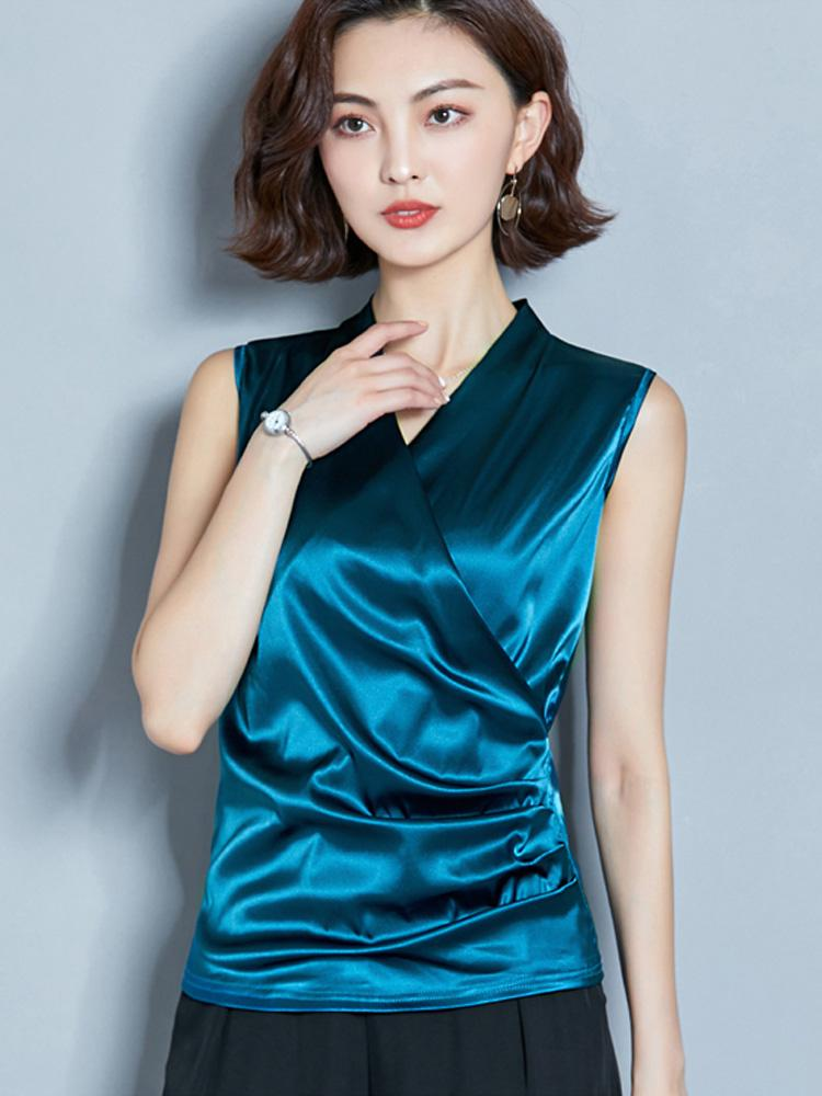 Vest smooth style Satin top new top womens silk summer V-neck t cross shirt with sleeveless shoulder