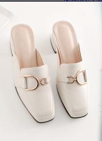 包头半拖鞋女2020年新款夏天外穿时尚半托粗跟中跟凉拖高跟穆勒鞋