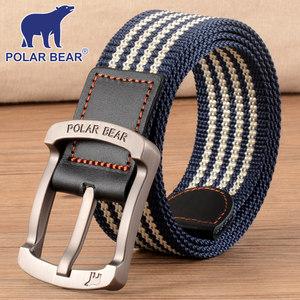 POLAR BEAR腰带男帆布皮带针扣青年休闲韩版个性年轻人牛仔裤带潮
