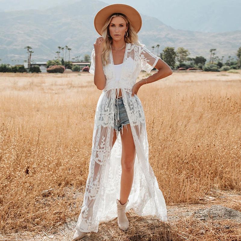 火凤凰—馨欧美新款绣花花边开衫沙滩罩衫比基尼泳衣外套防晒开衫