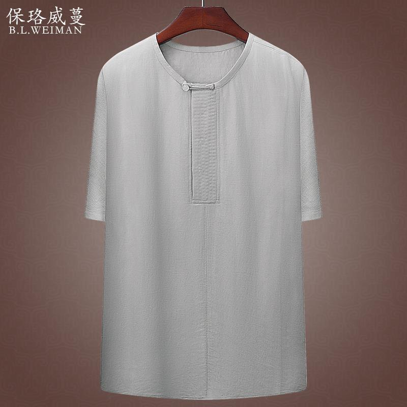 Linen t-shirt mens Cotton hemp short sleeve middle-aged dad summer T-shirt middle-aged and old mens clothes Chinese mens clothes