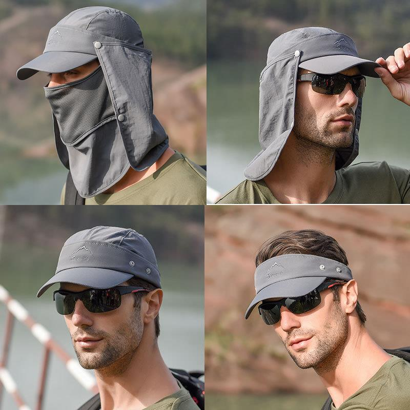 Sunshade hat mens protection spring and summer anti ultraviolet mask cover face fishermans hat sunscreen hat mens fishing