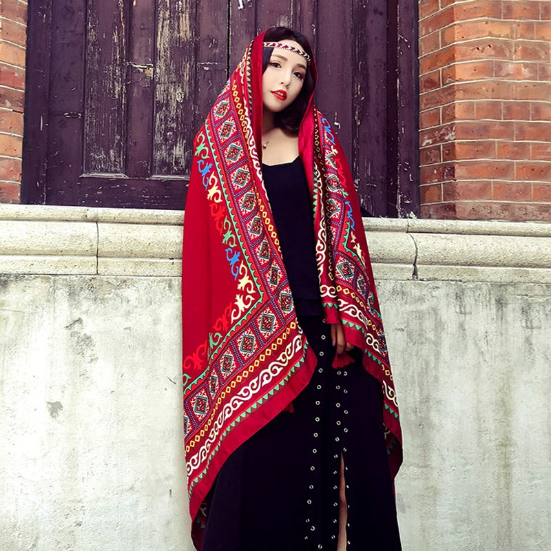 Ethnic situation South tourism Summer photo sunscreen shawl outside shooting season beach shawl thin 2021 foreign style silk clothes