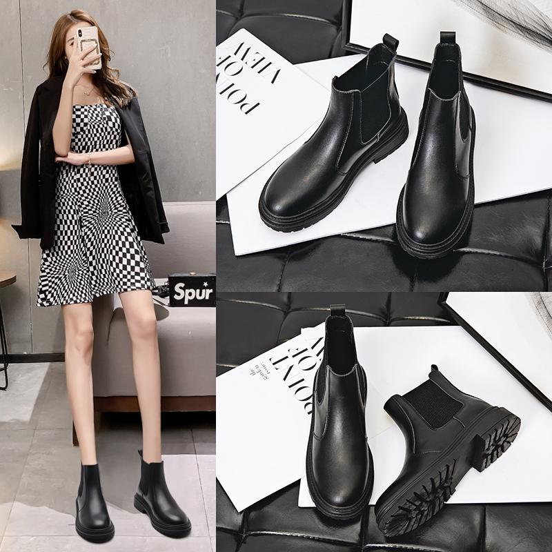 切尔西马丁靴女2020新款英伦风秋冬季短筒黑色百搭平底加绒短靴子