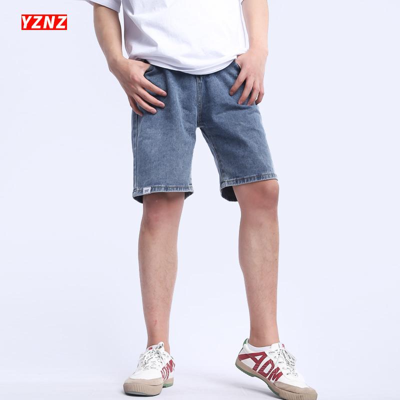 牛仔男宽松直筒夏潮浅色修身短裤
