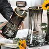 轻奢描金创意简约透明玻璃水养花瓶价格多少好不好用