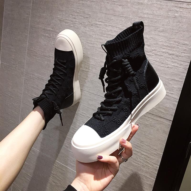 Elastic high top sock shoes womens autumn 2020 new Korean version of thick bottom versatile knitting small short tube single boots