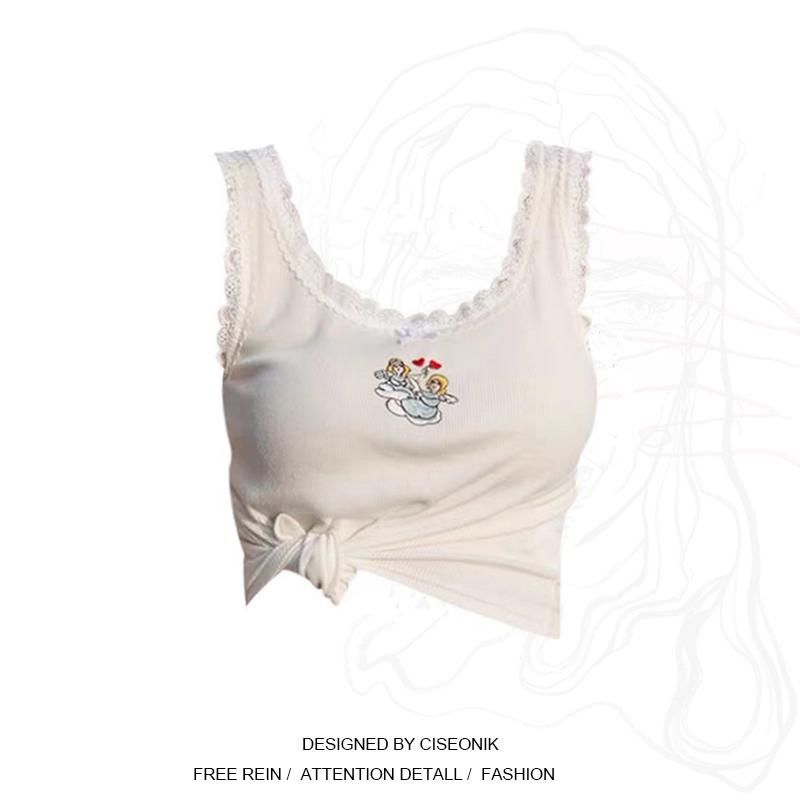 タオバオ仕入れ代行-ibuy99 女裝 大码女装胖妹妹甜辣风短款蕾丝拼接针织背心小吊带女内搭外穿上衣