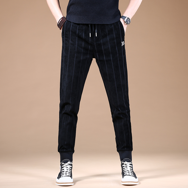 Black casual pants with binding feet mens trend versatile sports pants thick 2021 new spring and autumn slim Korean version