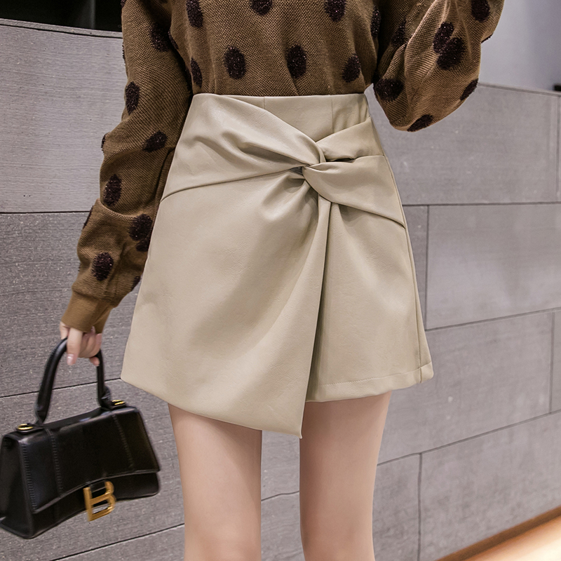 New Korean fashion skirt pants leather shorts pants skirt A-line skirt skirt skirt slim waist design