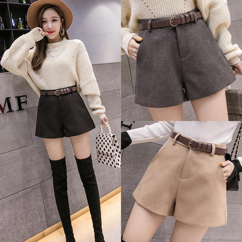 New Korean woolen shorts high waisted slim look solid color straight casual pants wide leg pants women