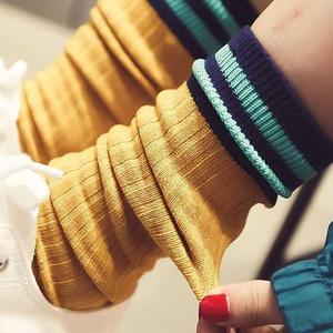 马丁靴袜子女中筒袜堆堆袜日系可爱运动风条纹袜潮百搭配韩国 潮