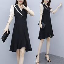 高个子女生连衣裙夏季170夏季大码韩版收腰显瘦鱼尾裙气质连衣裙