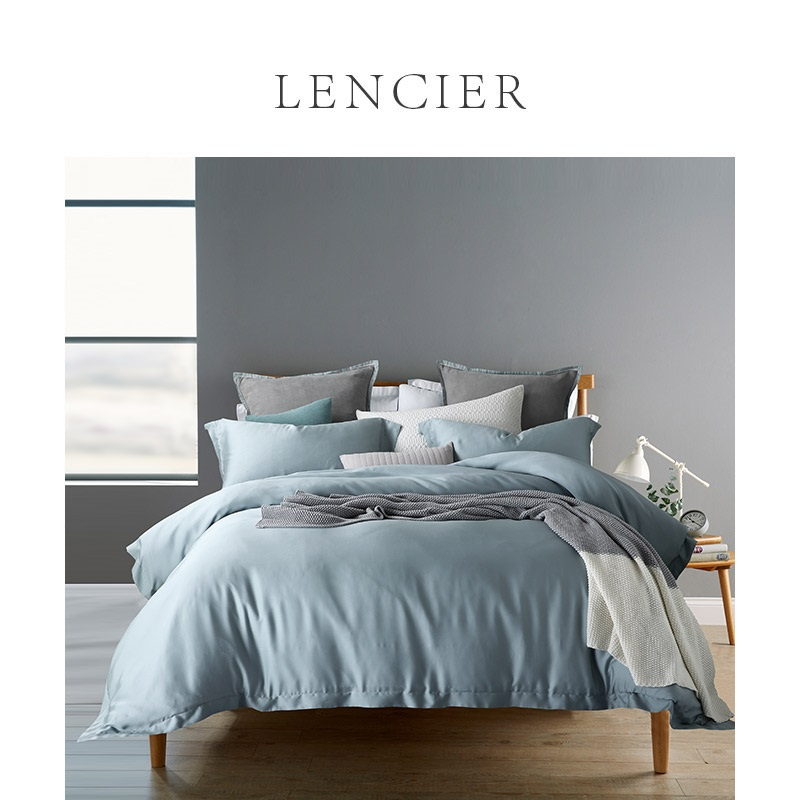 。 Lencier Lanxu sleep comfortable Nordic style cotton pure cotton pure color bed sheet fitted sheet 4 pieces