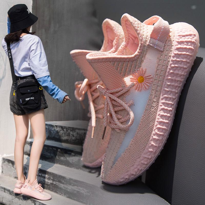 小雏菊透气飞织椰子鞋夏季ins薄款镂空软底时尚休闲跑步运动女鞋图片
